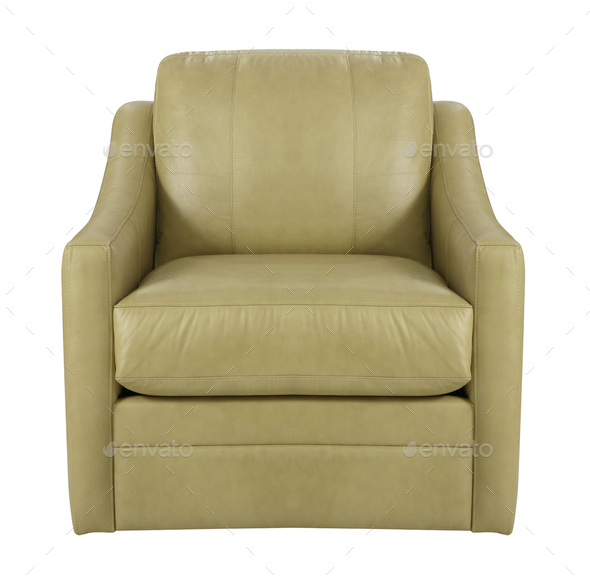 leather armchair isolated on white background - Stock Photo - Images