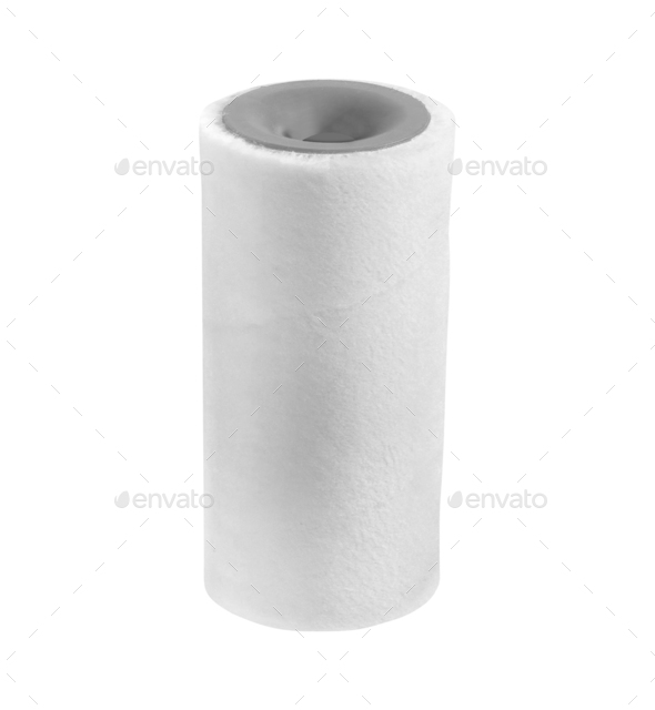 Cleaning paper towel roll isolated on white background - Stock Photo - Images