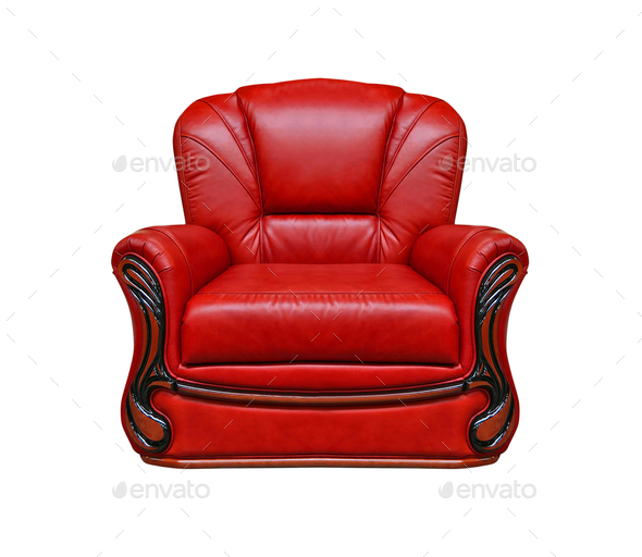 red leather armchair isolated on white - Stock Photo - Images