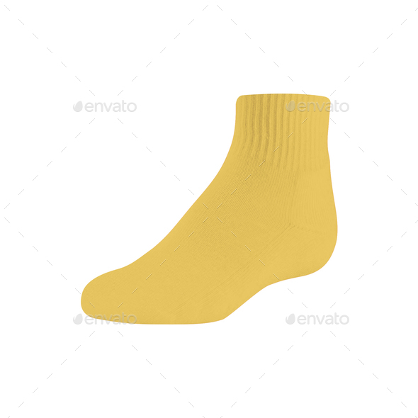 One yellow sock on pure white background - Stock Photo - Images