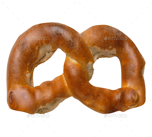 a german pretzel isolated on white - Stock Photo - Images