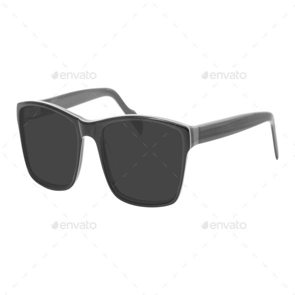 Black sunglasses isolated on white background - Stock Photo - Images