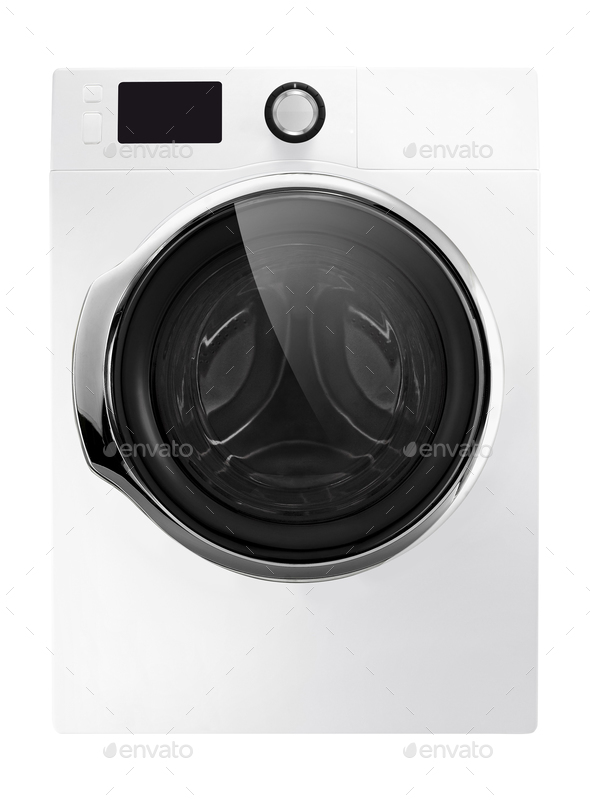 Washing machine isolated on white - Stock Photo - Images