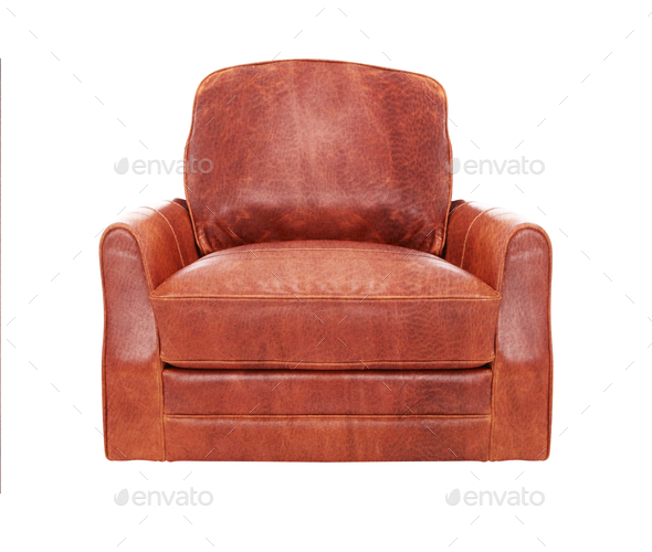 Classic Brown leather armchair isolated on white - Stock Photo - Images