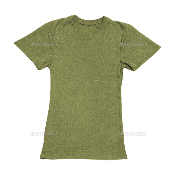 Olive green color T-shirt on woman body - Stock Photo - Images