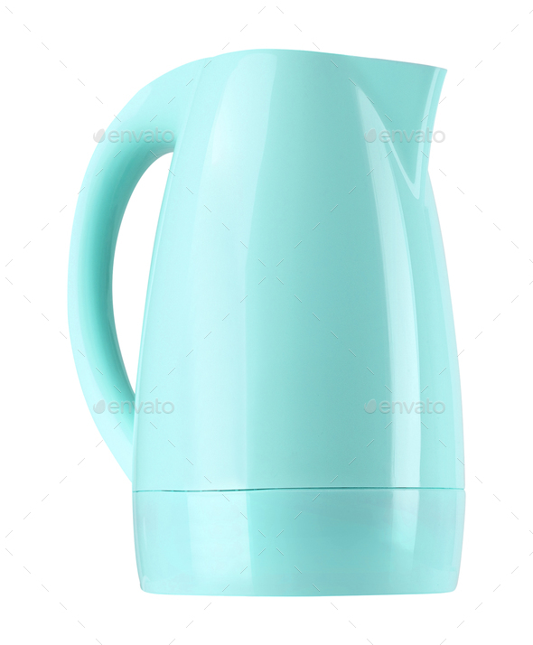 plastic electric kettle isolated on white - Stock Photo - Images