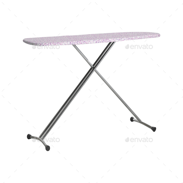 Empty ironing board isolated on white - Stock Photo - Images