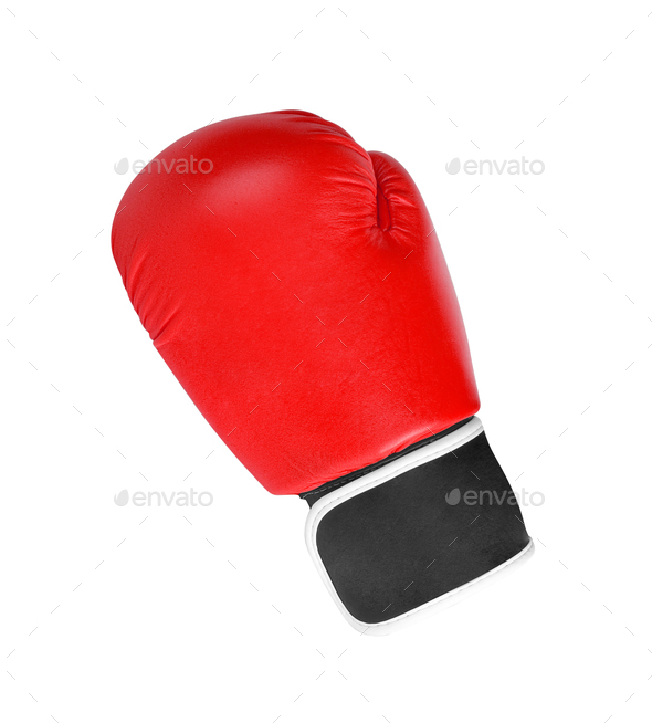 red boxing glove isolated on white background - Stock Photo - Images
