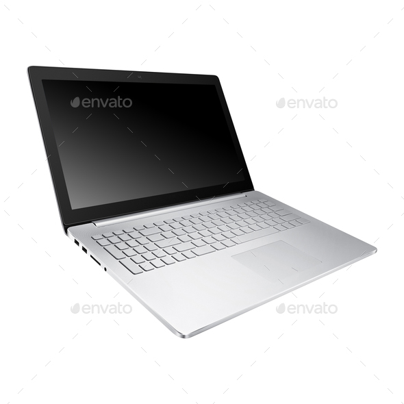 Laptop isolated on white background - Stock Photo - Images