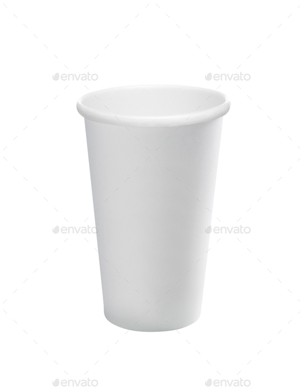 Empty white paper cup isolated - Stock Photo - Images