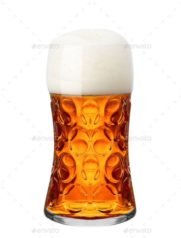 Glass of beer isolated on a white background - Stock Photo - Images