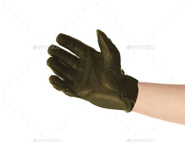 Men's leather gloves isolated on white - Stock Photo - Images