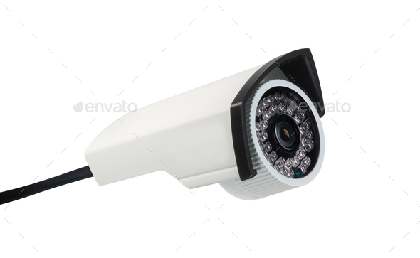 CCTV security camera on white - Stock Photo - Images