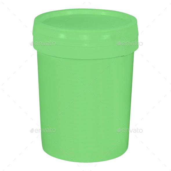 Plastic bucket isolated on white - Stock Photo - Images