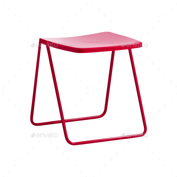 Folding camping stool isolated on white - Stock Photo - Images
