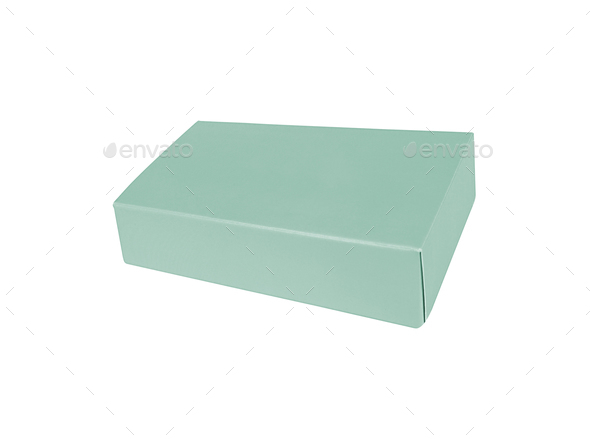 view of empty blue gift box on white background - Stock Photo - Images