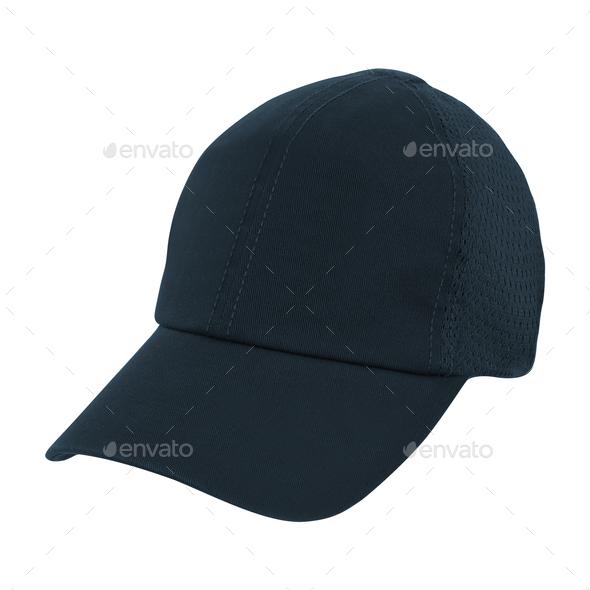 black baseball hat isolated on white - Stock Photo - Images