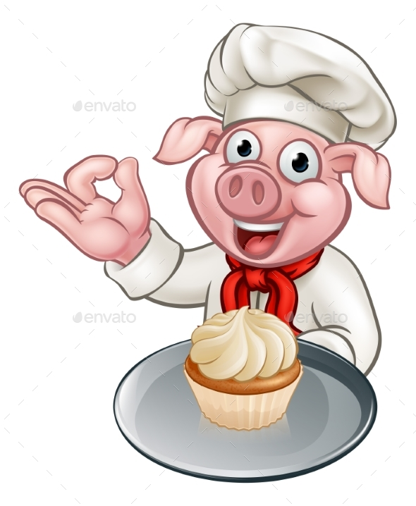 Cartoon Baker Chef Pig Character - Food Objects