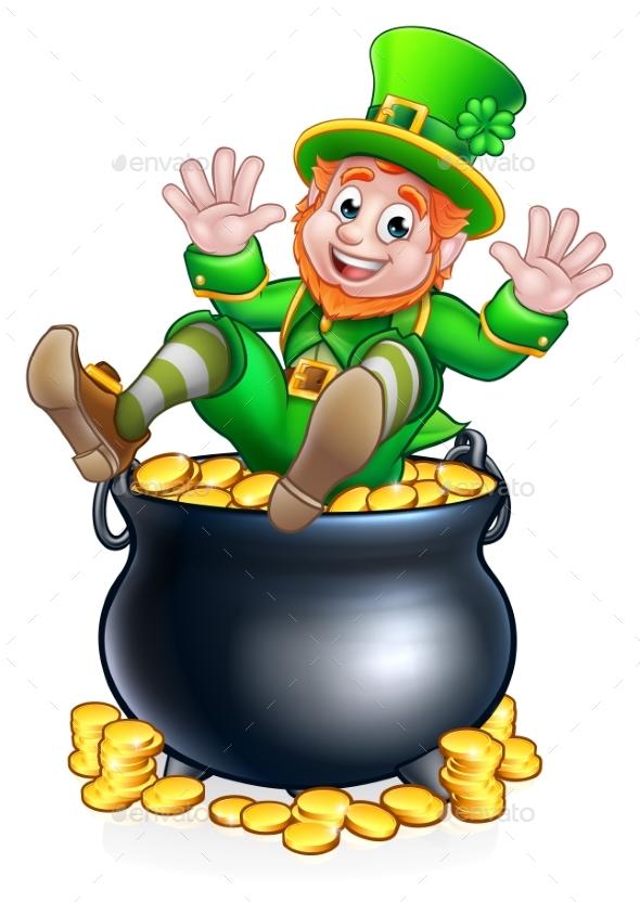 St Patricks Day Leprechaun and Pot of Gold - Miscellaneous Seasons/Holidays