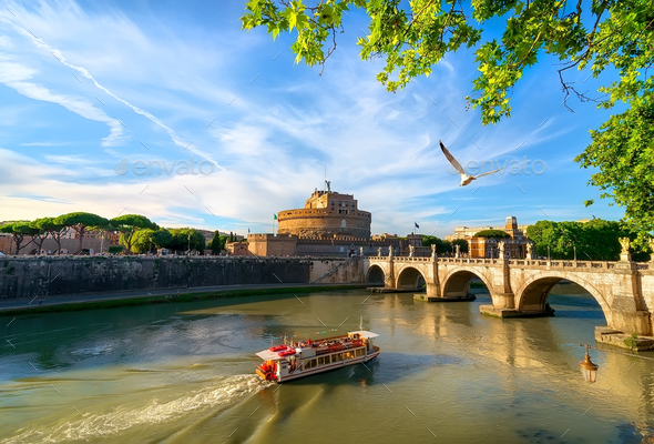 Boat on the tiber - Stock Photo - Images