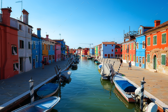 Boats in Burano - Stock Photo - Images