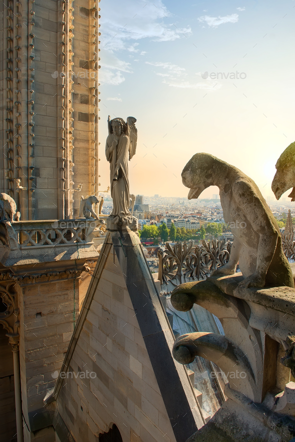 Chimeras on cathedral - Stock Photo - Images