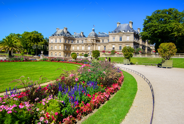 Luxembourg Palace in afternoon - Stock Photo - Images