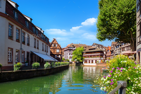 Strasbourg houses on river - Stock Photo - Images