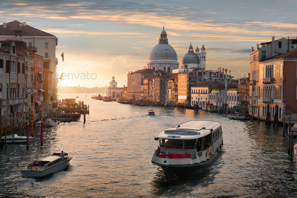 Vaporetto at sunset - Stock Photo - Images