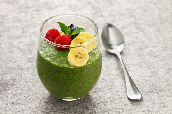 homemade matcha green tea chia seed pudding - Stock Photo - Images