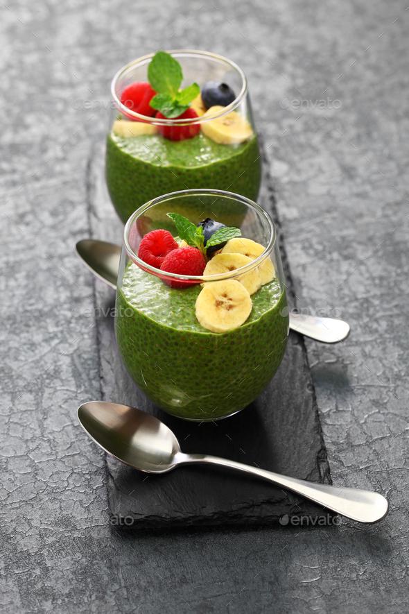 homemade matcha green tea chia seed pudding - Stock Photo - Images