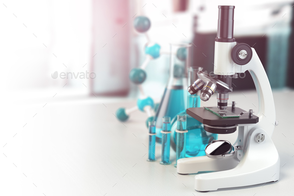 Microscope with lab glassware, flasks and colbas.Science laborat - Stock Photo - Images