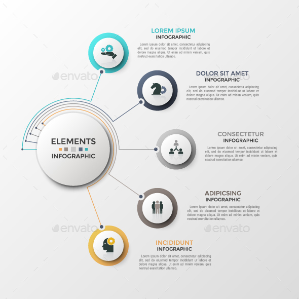 Linear Circular Connection Infographic Template - Infographics