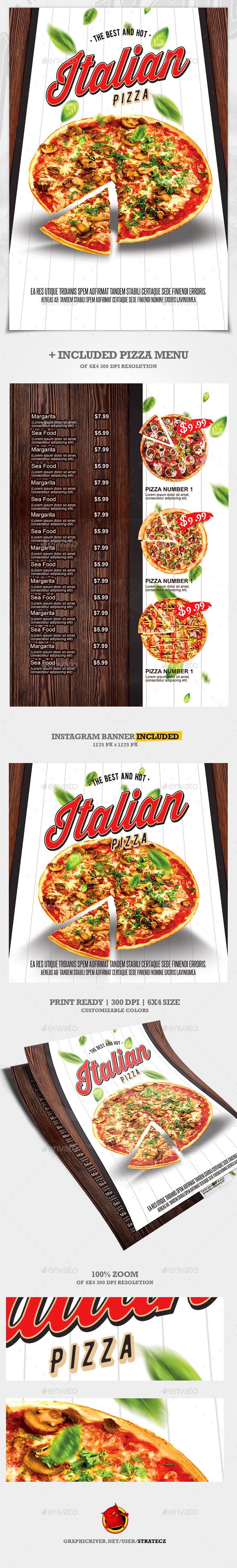Pizza Flyer + Pizza Menu - Print Templates