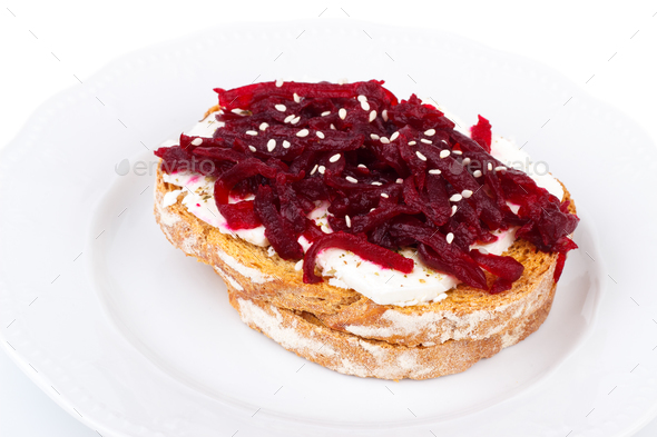 Toast with beetroot  - Stock Photo - Images