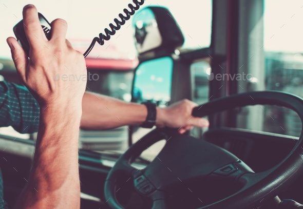 Truck Driving Radio Chat - Stock Photo - Images