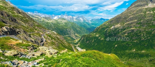 Summer Alpine Panorama - Stock Photo - Images