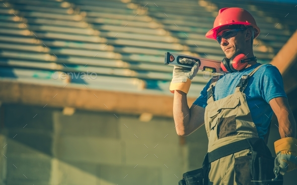 Caucasian Builder with Tools - Stock Photo - Images