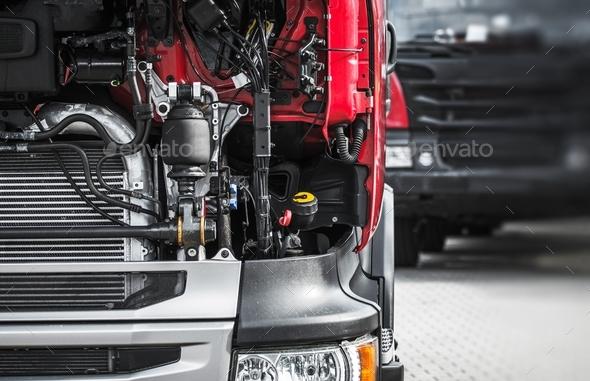 Broken Semi Truck Service - Stock Photo - Images