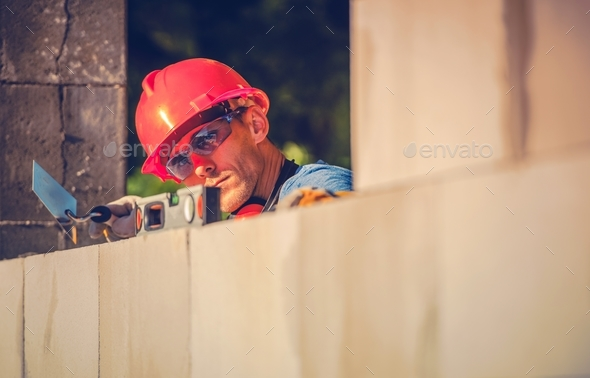 Caucasian Mason Worker - Stock Photo - Images