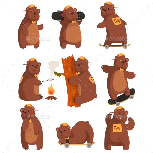 Bear in Various Situations Cartoon - Animals Characters