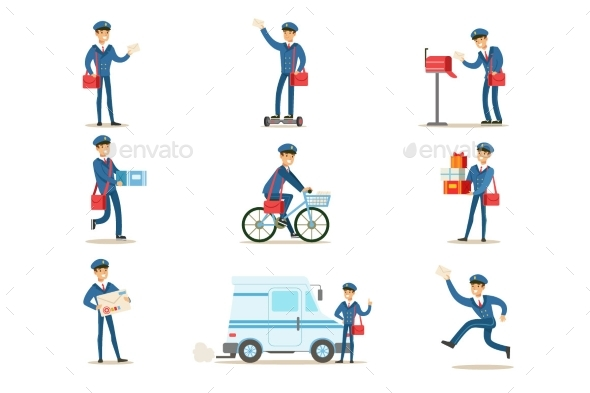 Postman in Blue Uniform With Red Bag Delivering - People Characters