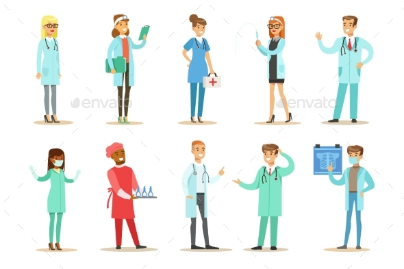 Doctors With Different Specializations Wearing - Health/Medicine Conceptual