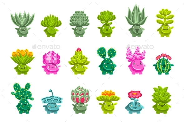 Alien Fantastic Plant Characters with Succulent - Flowers & Plants Nature