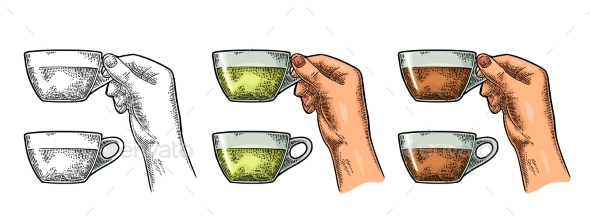 Female Hand Holding a Cup of Tea - Food Objects