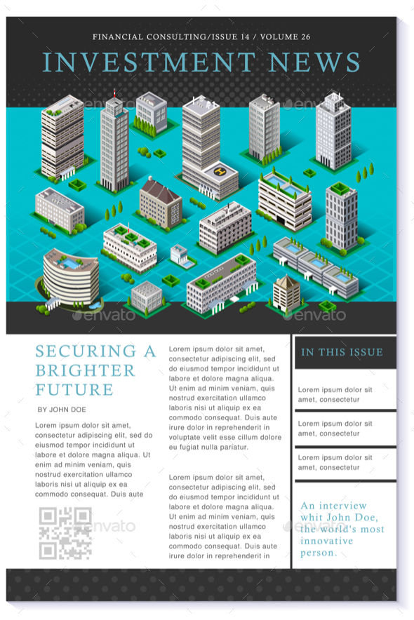 Financial Newsletter Annual Report Vector Flyer Template - Buildings Objects