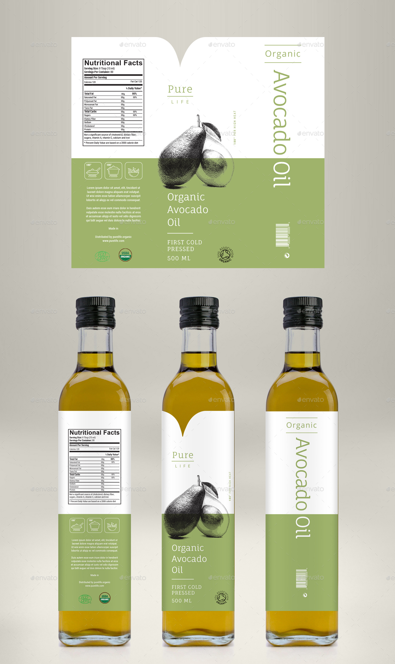 Avocado Oil, Coconut Oil & Almond Oil Label