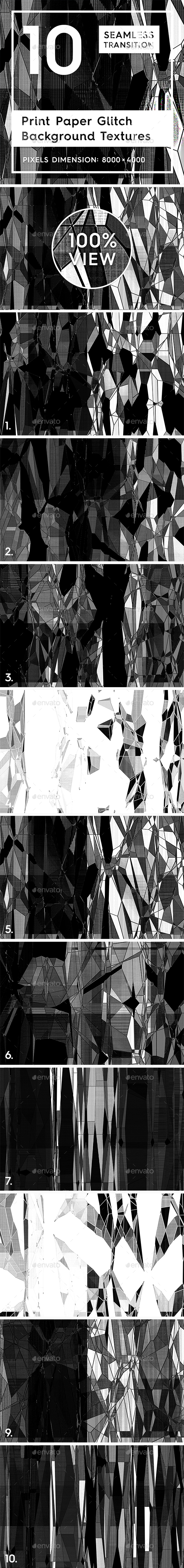 10 Print Paper Glitch Background Textures - Abstract Backgrounds
