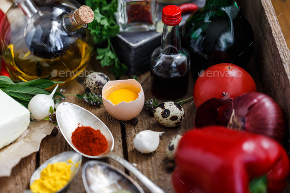 Close view of Big set of sauces and spices, with vegetables - Stock Photo - Images