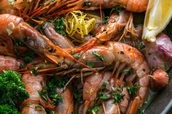 Many roasted tiger prawns shrimps background, close view - Stock Photo - Images